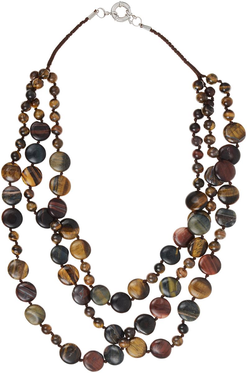 Бусы Art-Silver, цвет: коричневый. СМЦ60-5-1208СМЦ60-5-1208Бусы Art-Silver выполнены из бижутерного сплава и камня тигровый глаз. Изделие оснащено удобным шпренгельным замком.
