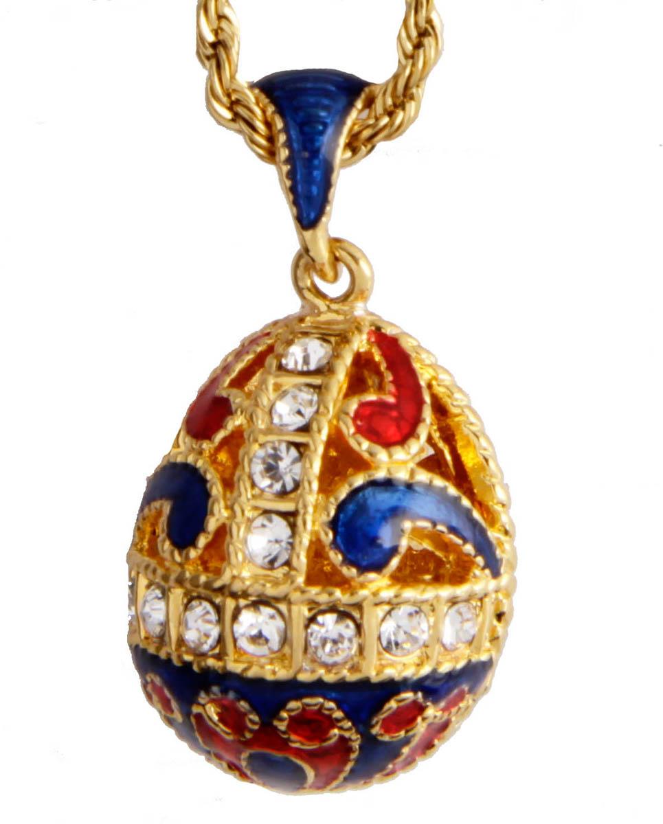 """Кулон-подвеска """"Пасхальный сувенир"""" в стиле Фаберже. Бижутерный сплав, эмаль, австрийские кристаллы. Корея, конец XX века ОС29523"""