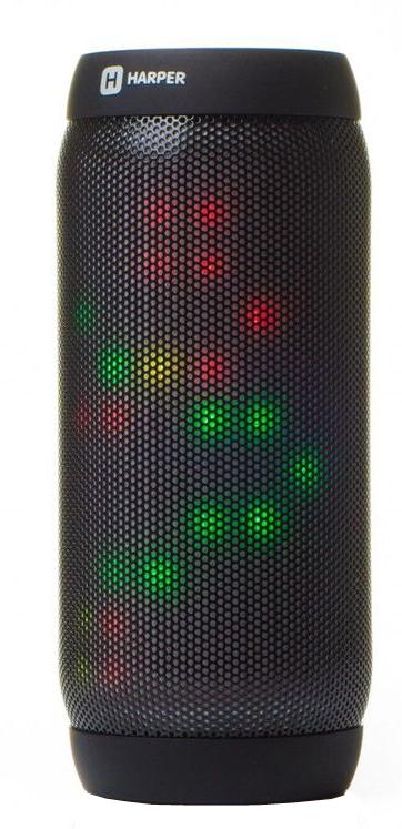 Harper PS-055, Black колонка портативнаяH00001116Беспроводные колонки Harper PS-055 оборудованы множеством светодиодов для создания эффекта светомузыки. В программе визуализации спектра музыки заложено 4 различных режима работы эквалайзера. Колонки Harper PS-055 сопрягаются с большинством современных смартфонов, планшетов, ноутбуков и других устройств по беспроводному каналу связи Bluetooth версии 3.0, который обеспечивает устойчивую передачу данных на удалении до 10 метров от источника сигнала. Благодаря беспроводному подключению и наличию встроенного микрофона, Harper PS-055 могут использоваться в качестве телефонной гарнитуры. Помимо указанных режимов работы, Harper PS-055 может воспроизводить музыкальные файлы с карт памяти формата MicroSD (TF), поддерживаются файлы WAV, MP3, WMA. Возможно проводное подключение к источнику звука посредством стандартного кабеля AUX с разъемом 3,5 мм mini-jack. Еще одна функция – работа в режиме радиоприемника FM-диапазона. Имеется возможность автоматического поиска...