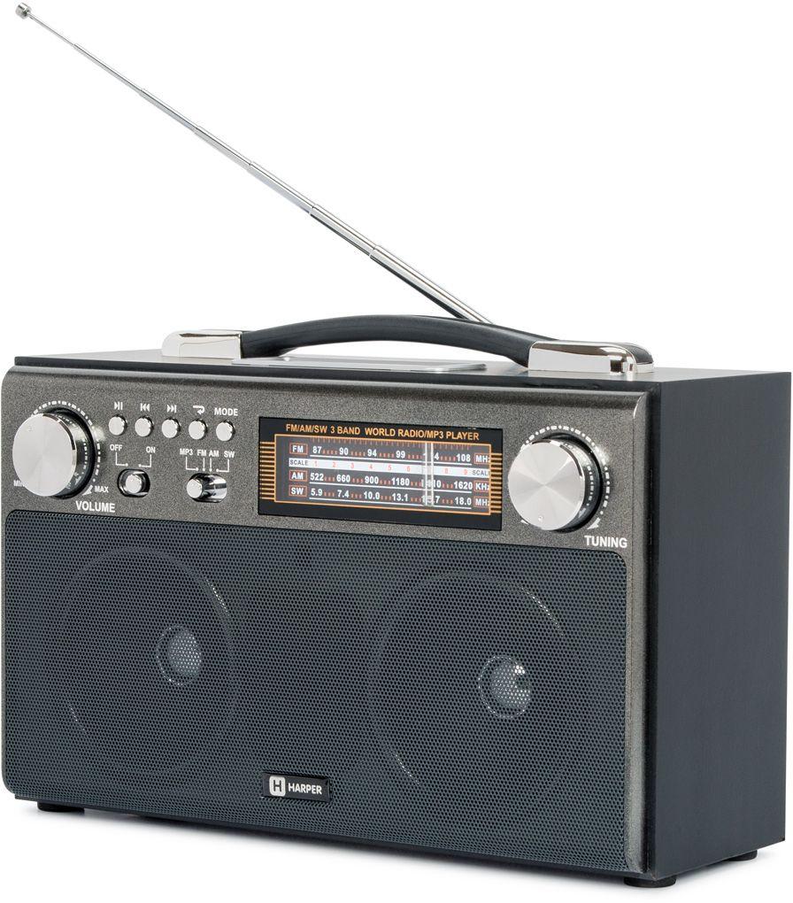 Harper HDRS-033, Black радиоприемникH00001250Радиоприемник с MP3 плеером HARPER HDRS-033 Радио: FМ: 87-108 MHz; AM: 522-1620 KHz; SW: 5.9-18.0 MHz MP3 плеер: да Поддержка карт памяти: USB, SD, microSD (TF) Количество динамиков: 2 Встроенный аккумулятор: 1400 mAh Питание от батарей: 6V, тип D (R20), 4шт Питание от сети: 220 V / 50Hz