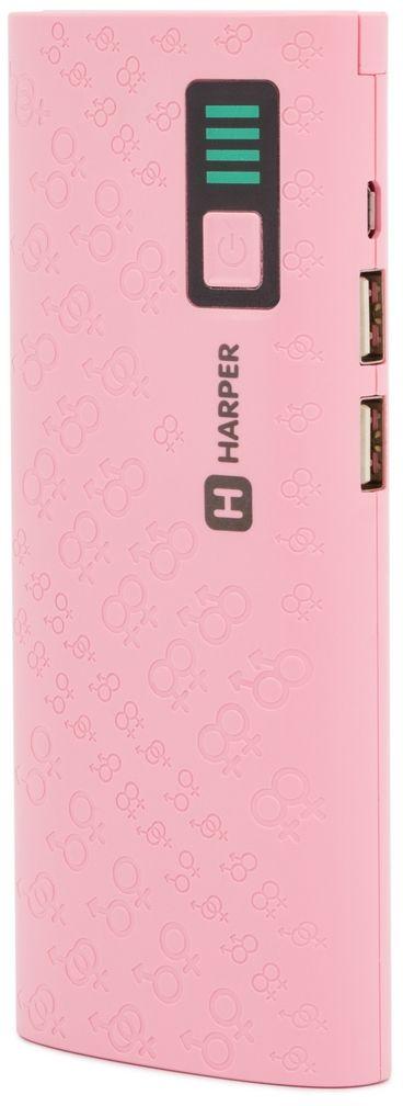Harper PB-10007, Pink внешний аккумулятор (10 000 мАч)H00001312ВНЕШНИЙ АККУМУЛЯТОР ДЛЯ ЗАРЯДКИ МОБИЛЬНЫХ УСТРОЙСТВ. Ёмкость батареи: 10 000mAh; Тип батареи Li-Ion; Смарт-чип, предотвращающий перезаряд и перегрузки; Выход 2 USB: 5V/1A и 5V/2,1A; LED фонарик; LED индикатор