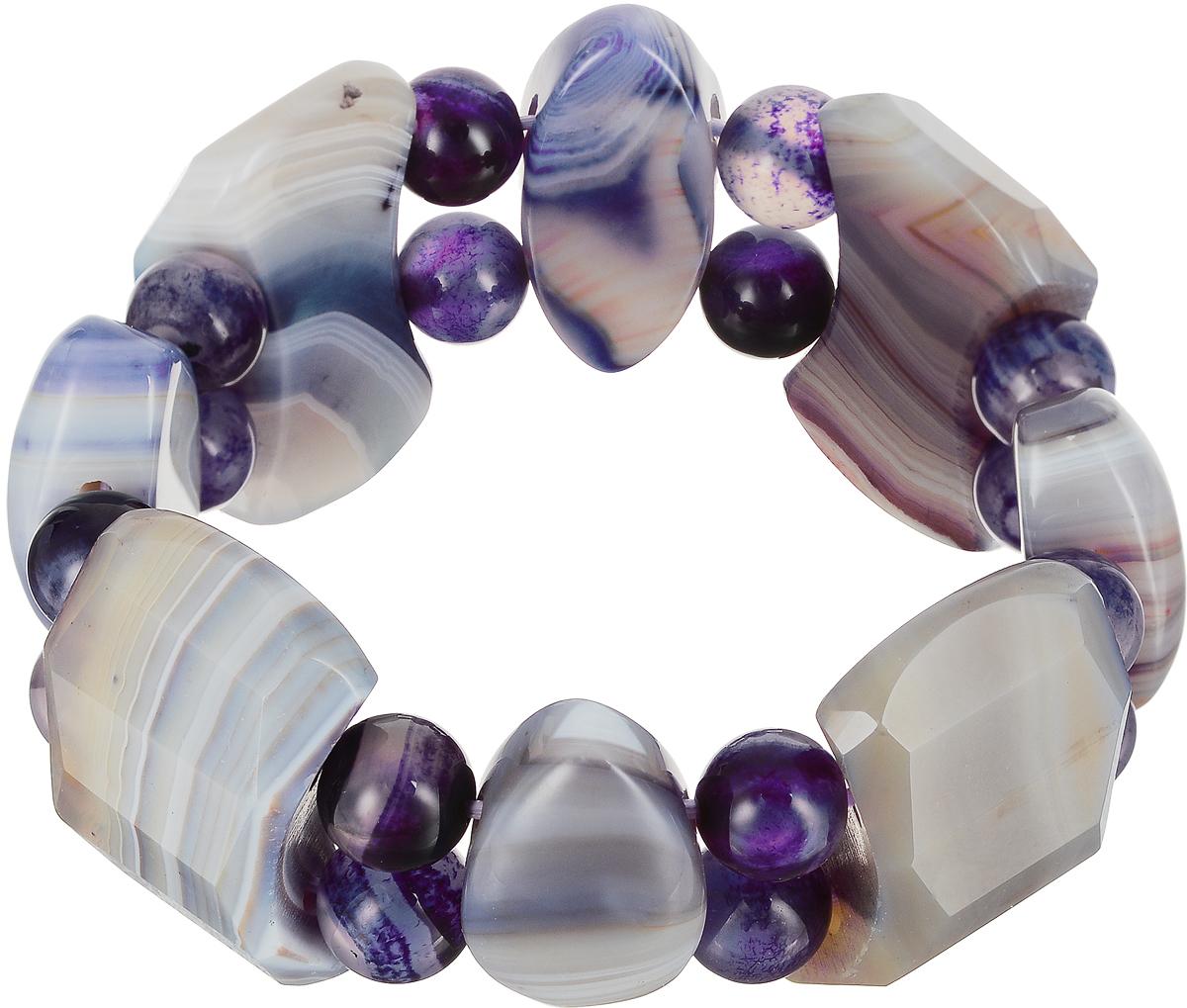 Браслет Art-Silver, цвет: фиолетовый. KW61-2-701KW61-2-701Изящный женский браслет Art-Silver выполнен из камня чароита. Эластичная прочная резинка позволит идеально зафиксировать модель на руке. Это стильное украшение элегантно завершит модный образ и подчеркнет ваш изысканный вкус.
