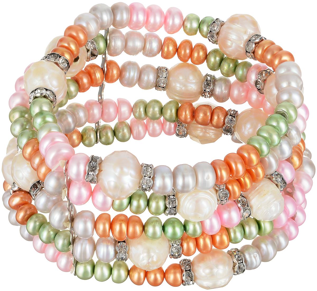 Браслет Art-Silver, цвет: белый, зеленый, розовый. B0614-770B0614-770Эффектный женский браслет Art-Silver изготовлен из бижутерного сплава, жемчуга и циркона. Этот необычный и стильный браслет отлично разбавит ваш повседневный образ, добавит в него изюминку. С помощью него вы сможете подчеркнуть свою индивидуальность и выделиться среди окружающих.