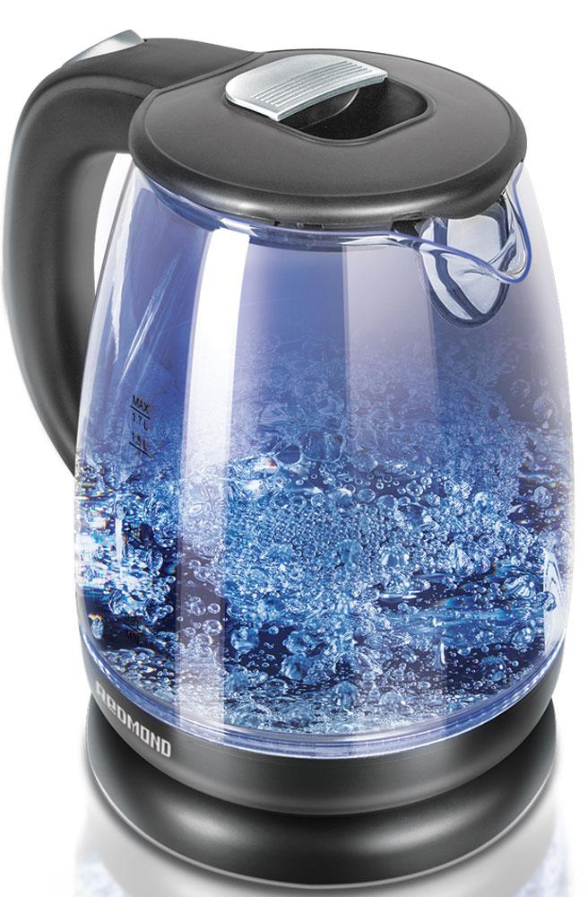 Redmond RK-G178 электрический чайникRK-G178Электрический чайник Redmond RK-G178 - новая чрезвычайно стильная модель с корпусом из термостойкого стекла и изящной голубой подсветкой. Насладитесь надёжностью, демократичностью и лаконичностью этого устройства! Получите удовольствие от бурлящего танца пузырьков! Чайник RK-G178 имеет систему автоматического отключения при закипании и при недостаточном количестве воды. Благодаря возможности вращения прибора на подставке на 360° им очень удобно пользоваться с любой стороны. Мощный дисковый нагревательный элемент кипятит воду максимально быстро. Redmond RK-G178 обладает вместительным объёмом (1,7 л), что идеально подойдёт для большой семьи. Для очищения воды в чайнике предусмотрен фильтр от накипи. Надёжный переключатель, удобная кнопка открывания крышки и большая ручка сделают обращение с этим кухонным устройством исключительно комфортным. Вы влюбитесь в него с первого чаепития!