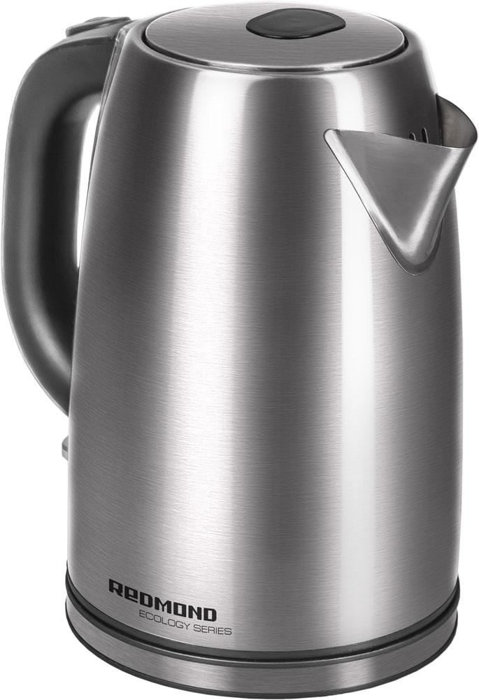 Redmond RK-M182 электрический чайникRK-M182Электрический чайник Redmond RK-M182 — стильная и надёжная новинка из экологичной серии с корпусом из нержавеющей стали и эффектной подсветкой выключателя. Этот лаконичный и монолитный прибор приятно удивит деликатно спрятанной шкалой уровня воды под большой ручкой. Пользоваться таким эргономичным устройством одно удовольствие! Чайник RK-M182 с дисковым нагревательным элементом легко вращается на подставке на 360°. Дополнительно этот современный аппарат автоматически выключается при кипении и при недостаточном количестве воды. Redmond RK-M182 имеет вместительный объём и очень удобный носик. Вы сможете с комфортом напоить чаем большую компанию и семью!