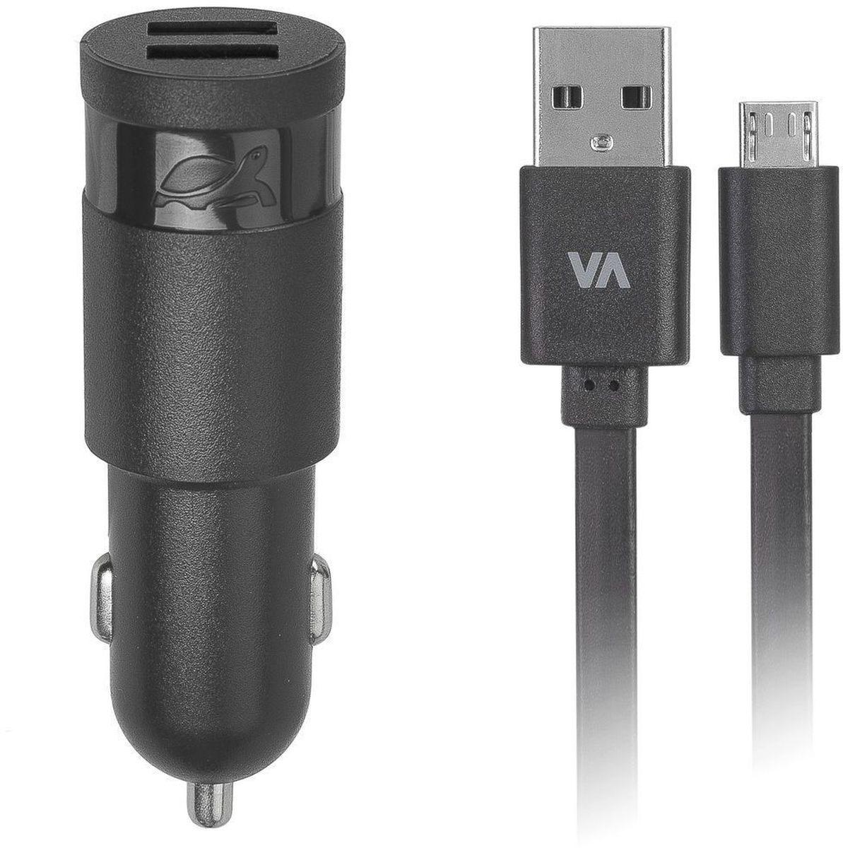 Rivapower VA4223 BD1, Black автомобильное зарядное устройствоVA4223 BD1Универсальное автомобильное зарядное устройство Rivapower VA4223 совместимо со всеми устройствами, использующими USB порт для зарядки своих аккумуляторов. Позволяет заряжать 2 устройства одновременно, занимая всего один автомобильный разъем электропитания. Высококачественные компоненты, встроенные фильтры, защита от скачков напряжения, защита от перегрузки, перегрева и короткого замыкания делают процесс зарядки быстрым, эффективным и безопасным. Корпус сделан из негорючего пластика устойчивого к механическим повреждениям. Ультра компактные размеры зарядного устройства позволяют использовать его даже в автомобилях с ограниченным пространством вокруг автомобильного разъема электропитания. В комплект входит дата-кабель microUSB длиной 1 метр.