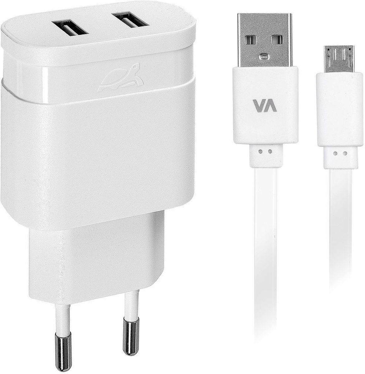 Rivapower VA4122 WD1, White сетевое зарядное устройствоVA4122 WD1Универсальное сетевое зарядное устройство Rivapower VA4122 WD1 совместимо со всеми устройствами, использующими USB порт для зарядки своих аккумуляторов. Позволяет заряжать 2 устройства одновременно, занимая всего одну розетку. Высококачественные компоненты, встроенные фильтры, защита от скачков напряжения, защита от перегрузки, перегрева и короткого замыкания делают процесс зарядки быстрым, эффективным и безопасным. Корпус сделан из негорючего пластика устойчивого к механическим повреждениям. Компактные размеры зарядного устройства позволяют свободно пользоваться соседними розетками и делают его очень удобным в поездках. В комплект входит дата-кабель microUSB длиной 1 метр.