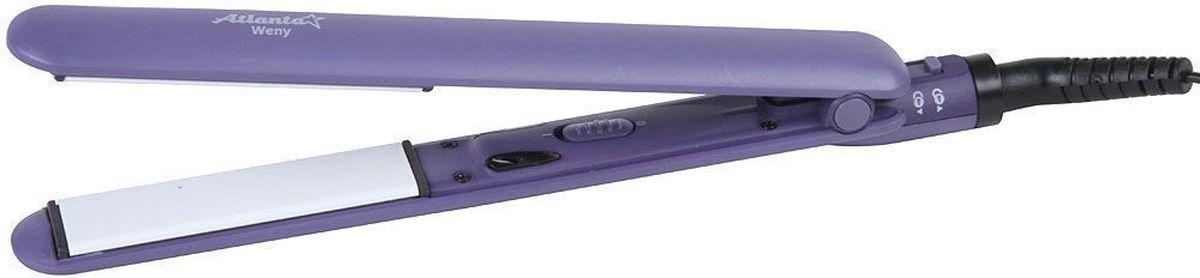 Atlanta ATH-6723, Violet выпрямитель для волос77.858@26095Насадки с керамичеким покрытием Керамический нагр. элемент с быстрым стартом Вращающийся шнур Индикатор работы Размер насадок 25 на 90 мм Максимальная температура 200°С 230 В, 50 Гц Мощность 35 Вт