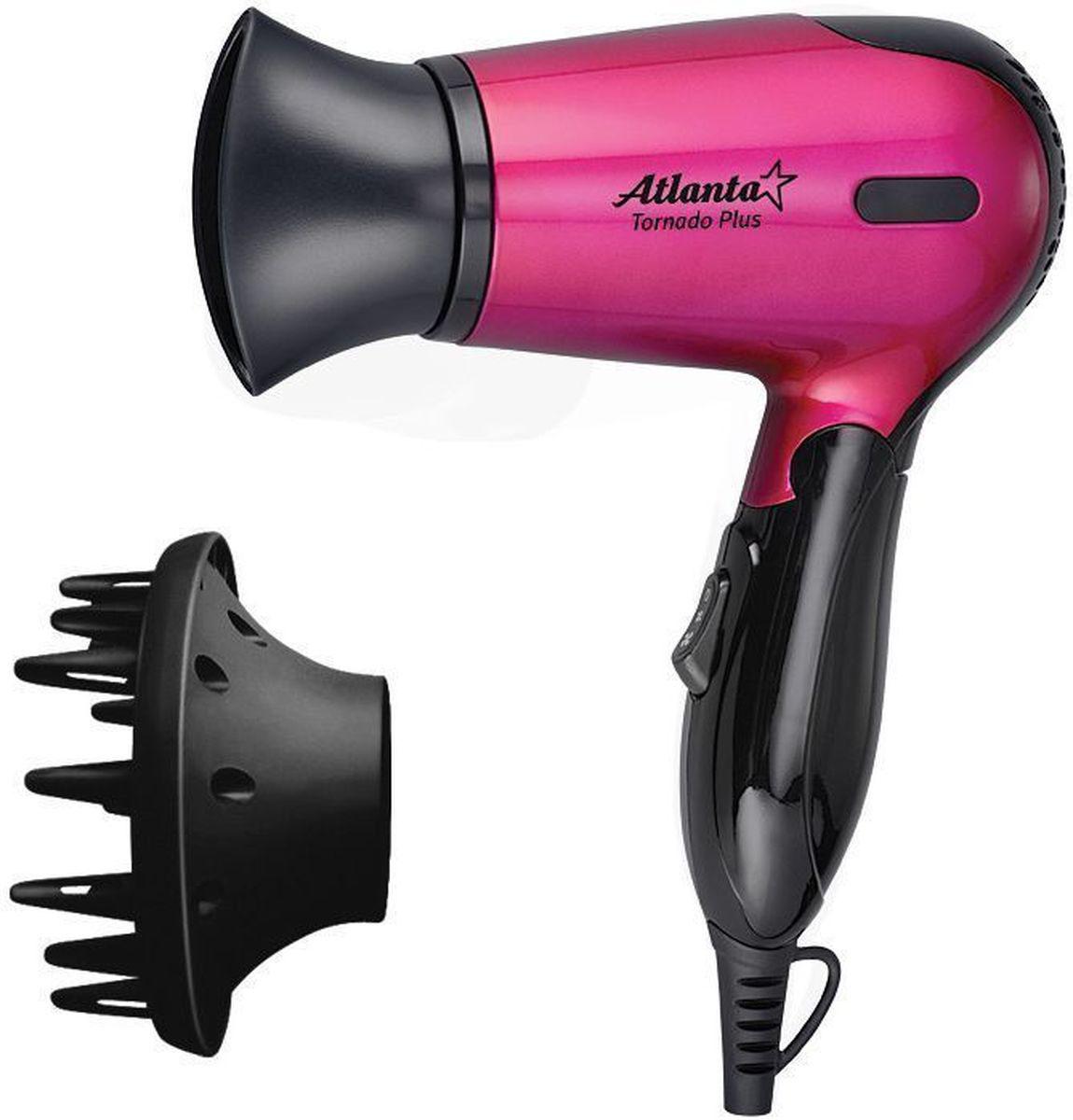 Atlanta ATH-882N, Pink фен77.858@25930Фен Atlanta ATH-882N обеспечивает мощный воздушный поток и быструю сушку волос. Сбалансированная система контроля температуры и силы воздушного потока устанавливает оптимальный режим сушки на уровне 57°С и исключает потерю протеина волос вследствие перегрева. Фен оснащен специальным механизмом отключения в случае перегрева и дополнительным плавким предохранителем на случай ошибки системы. Нихромовый нагревательный элемент выполнен в виде конуса для равномерного нагрева по всему потоку воздуха с использованием формы спирали зиг-заг, позволяющей улучшить показатель равномерности теплоотдачи данного нагревательного элемента. Прочная, удобная ручка легко складывается. Фен занимает мало места при хранении, а также очень удобен дороге.
