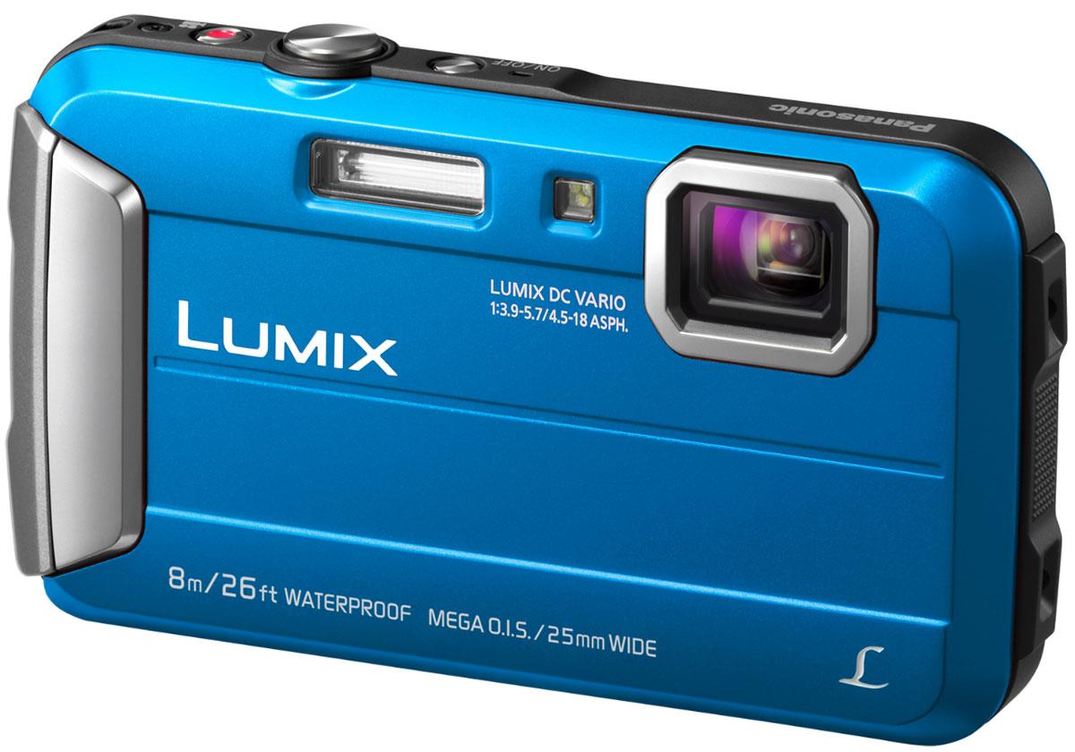 Panasonic Lumix DMC-FT30, Blue цифровая фотокамераDMC-FT30EE-APanasonic Lumix DMC-FT30 отличается повышенной надежностью и работает под водой на глубине до 8 м / 26 футов. Режимы замедленной съемки, Творческой панорамы и масса прочих, а также богатый арсенал замечательных фильтров делают работу с камерой еще приятнее. Водостойкость и надежность для экстремального использования: Порадуйте себя удобной универсальной сьемкой как в городе, так на природе. Эта модель идеально подходит для любых условий. Встроенная память 220 МБ: 220 МБ встроенной памяти для лишних 34 кадров на случай, если память на карте закончится. Восхитительные фотографии под водой: Воспроизведение красного цвета в режиме расширенной подводной съемки компенсирует недостаток красного цвета при подводной съемке и делает изображение более натуральным и естественным. Режимы Спорт, Снег и Пляж и серфинг также легко доступны в удобном меню. MEGA O.I.S. (Оптический стабилизатор изображения): MEGA O.I.S....