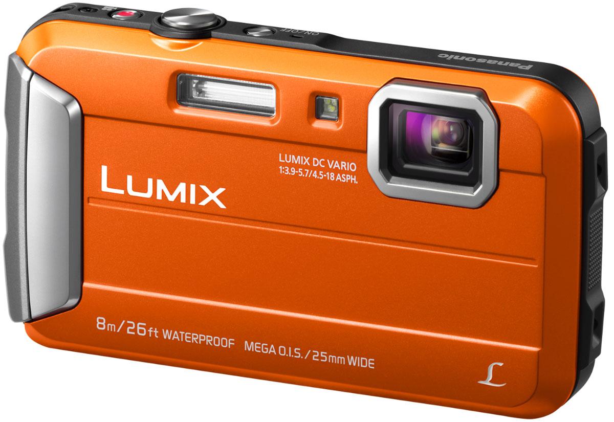 Panasonic Lumix DMC-FT30, Orange цифровая фотокамераDMC-FT30EE-DPanasonic Lumix DMC-FT30 отличается повышенной надежностью и работает под водой на глубине до 8 м / 26 футов. Режимы замедленной съемки, Творческой панорамы и масса прочих, а также богатый арсенал замечательных фильтров делают работу с камерой еще приятнее. Водостойкость и надежность для экстремального использования: Порадуйте себя удобной универсальной сьемкой как в городе, так на природе. Эта модель идеально подходит для любых условий. Встроенная память 220 МБ: 220 МБ встроенной памяти для лишних 34 кадров на случай, если память на карте закончится. Восхитительные фотографии под водой: Воспроизведение красного цвета в режиме расширенной подводной съемки компенсирует недостаток красного цвета при подводной съемке и делает изображение более натуральным и естественным. Режимы Спорт, Снег и Пляж и серфинг также легко доступны в удобном меню. MEGA O.I.S. (Оптический стабилизатор изображения): MEGA O.I.S....