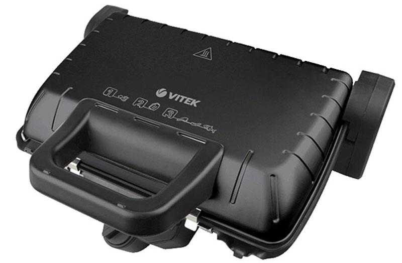 Vitek VT-2632 (BK) электрогрильVT-2632(BK)Гриль-пресс Vitek 2632 обладает компактными размерами, надежной конструкцией и удобной системой управления. Антипригарное покрытие пластин позволяет готовить диетическую пищу без добавления масла. Благодаря мощности нагрева в 2000 Вт он обеспечивает сверхскоростное приготовление, позволяя за короткое время получить вкусное и полезное мясное блюдо. Способ открытия крышки: 4 фиксированных положения (в том числе 180° и 90° градусов)