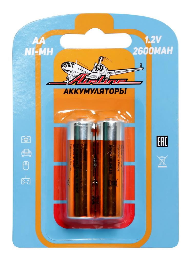Батарейки Airline, AA HR6 аккумулятор Ni-Mh 2600 mAh, 2 штAA-26-02Никель-металл-гидридные (NiMH) аккумуляторы популярных типоразмеров ААА и АА в блистерах по 2 штуки.