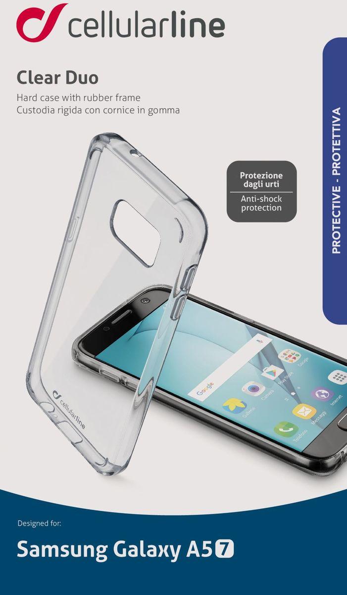 Cellular Line чехол для Samsung Galaxy A5 (2017), ClearCLEARDUOGALA517TПрозрачная задняя крышка для смартфона, двухкомпонентный материал: жесткая задняя часть и мягкие края, защищает от ударов и падений.
