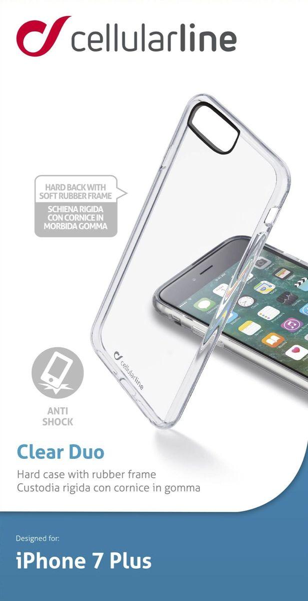 Cellular Line чехол для iPhone 7 Plus, ClearCLEARDUOIPH755TЧехол Cellular Line для iPhone 7 Plus надежно защитит ваш смартфон от внешних воздействий, грязи, пыли, брызг. Он также поможет при ударах и падениях, не позволив образоваться на корпусе царапинам и потертостям. Чехол обеспечивает свободный доступ ко всем функциональным кнопкам смартфона и камере.