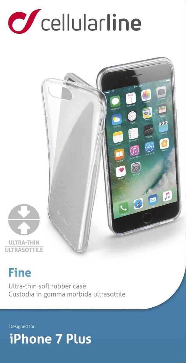 Cellular Line чехол ультратонкий для iPhone 7 Plus, ClearFINECIPH755TПрозрачная силиконовая задняя крышка для смартфона, ультратонкая, ультрапрозрачная.