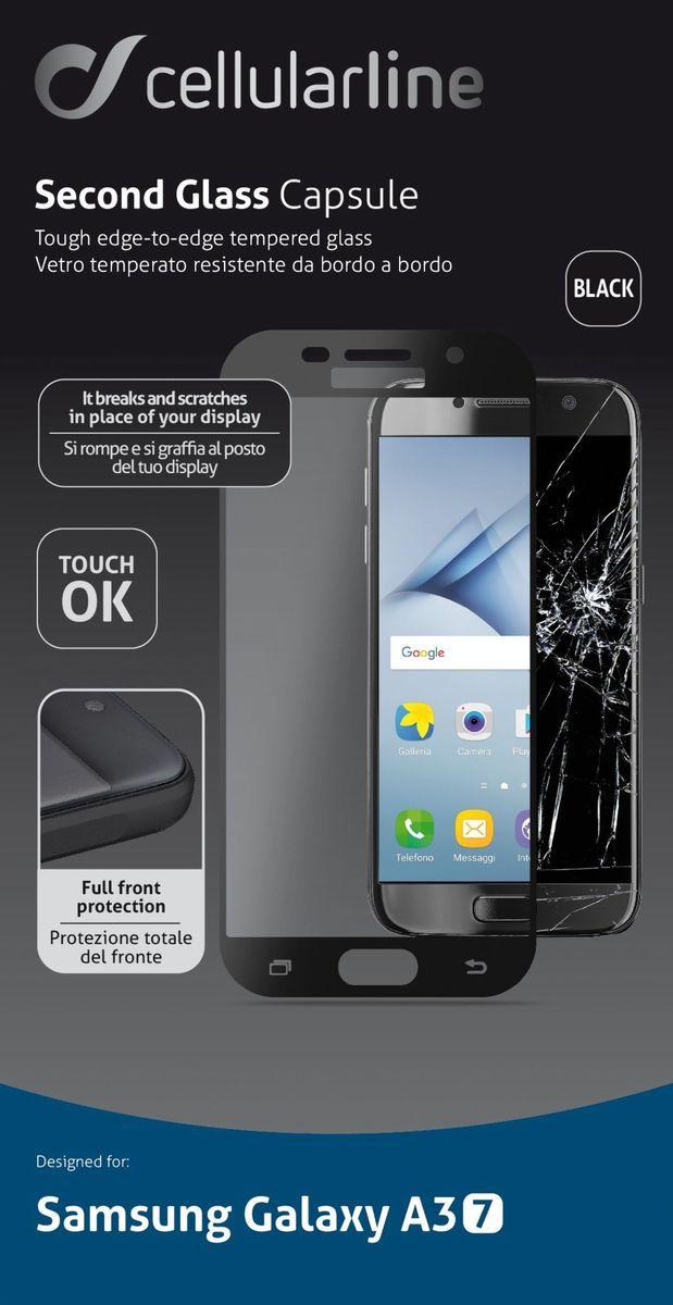 Cellular Line Second Glass защитное стекло для Galaxy A3 (2017), BlackTEMPGCABGALA317KCellular Line Second Glass - прочное защитное стекло для вашего смартфона. Обеспечивает более высокий уровень защиты по сравнению с обычной пленкой. При этом яркость и чувствительность дисплея не будут ограничены. Препятствует появлению воздушных пузырей и надежно крепится на экране устройства.