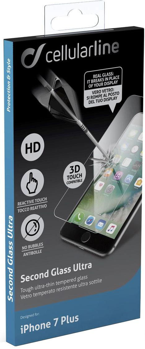 Cellular Line защитное стекло для iPhone 7 PlusTEMPGLASSIPH755Защитное стекло Cellular Line для iPhone 7 Plus обеспечивает надежную защиту сенсорного экрана устройства от большинства механических повреждений и сохраняет первоначальный вид дисплея, его цветопередачу и управляемость. В случае падения стекло амортизирует удар, позволяя сохранить экран целым и избежать дорогостоящего ремонта. Стекло обладает особой структурой, которая держится на экране без клея и сохраняет его чистым после удаления. Силиконовый слой предотвращает разлет осколков при ударе.