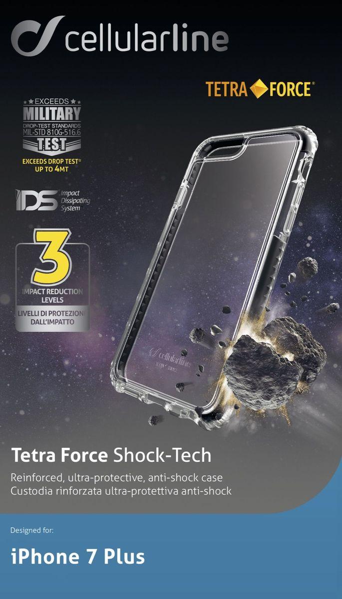 Cellular Line чехол ультрапрочный для iPhone 7 Plus, BlackTETRACPROIPH755KУльтрапрочная задняя крышка, жесткая задняя часть с мягкими краями,инновационная технология защиты IDS для рассеивания удара, усиленная защита краев и углов, тройной уровень защиты (задняя крышка, жесткая наружная рамка, мягкая внутренняя рамка).