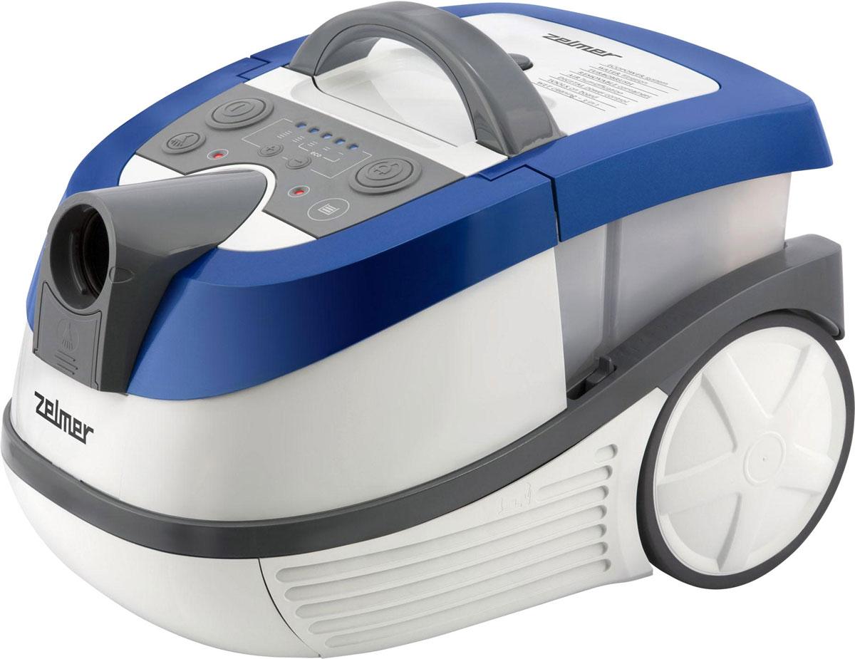 Zelmer ZVC 752STRU, White Blue пылесос моющийZVC752STRUМногофункциональный пылесос Zelmer ZVC752STRU позволяет собирать пыль в мешок Safbag или же специальный контейнер с водой, а также собирать воду и мыть ковры или обивку диванов. O качестве выходного воздуха заботится двойная система фильтрации, использующая фильтрующие свойства воды и HEPA-фильтра, который можно легко промыть водой. Цифровая регулировка мощности, эластичный шланг Flexi, щетка с сепаратором мелких предметов, а также щетка для паркета с натуральным ворсом и турбощетка для ковров делают пылесос удобным в пользовании. Пылесос рассчитан как на горизонтальную, так и на вертикальную парковку, поэтому для его хранения не потребуется много места. Многофункциональный: сбор воды, влажная уборка ковров, уборка пыли в мешок или контейнер с водой. Моющийся HEPA-фильтр H10 эффективно улавливает частицы размером 0,3 микрона. Турбощетка – идеальное решение для чистки ковров от шерсти и глубоко сидящей грязи.