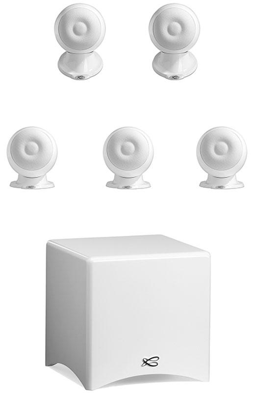 Cabasse Eole 3 System 5.1, White акустическая система для домашнего кинотеатраCabasse Eole 3 System 5.1 WS Glossy WhiteCabasse Eole 3 - акустическая система для домашнего кинотеатра, состоящая из 5 новых сферических сателлитов и очень компактного сабвуфера. Данная модель во многом использует преимущества исследований, которые были сделаны при разработке La Sphere, четырехполосного коаксиального флагмана компании. С технической стороны, инженеры Cabasse придерживались принципа коаксиального устройства в сферическом объеме, для однородного распространения звука. Сабвуфер Santorin 21 оснащен 250 W усилителем и новым 8 вуфером, специально разработанным для того, чтобы обеспечить музыкальность для звука и контролируемую мощность для использования в домашнем кинотеатре. Размеры динамиков: ВЧ: 19 мм, НЧ: 100 мм Размер динамика сабвуфера: 210 мм