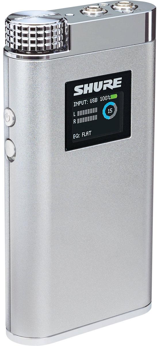Shure SHA900, Silver усилитель для наушниковShure SHA900 SilverУсилитель для наушников Shure SHA900 позволит повысить потенциал мобильных устройств и обеспечить должный уровень усиления для любых наушников с импедансом от 6 до 600 Ом. Габариты усилителя соответствуют размерам небольшого смартфона, а на борту имеется ЦАП и АЦП, что позволяет преобразовывать цифровой сигнал с разрешением в 24 бит/96 кГц в аналоговый и наоборот. Shure SHA900 собран в легком алюминиевом корпусе с хромированными деталями. В его лицевую панель встроен OLED-дисплей, для которого через меню можно задать уровень яркости, время отключения и другие параметры. Дисплей отображает меню, а в обычном режиме показывает выбранный вход, поканальный уровень полученного аудиосигнала, уровень громкости, оставшийся заряд литий-ионной батареи, а также значение для выравнивателя Input Pad (ослабляет входной сигнал на заданную величину) и выбранную установку 4-полосного цифрового параметрического эквалайзера. Эквалайзер имеет 5 заводских пресетов ( а также пресет...