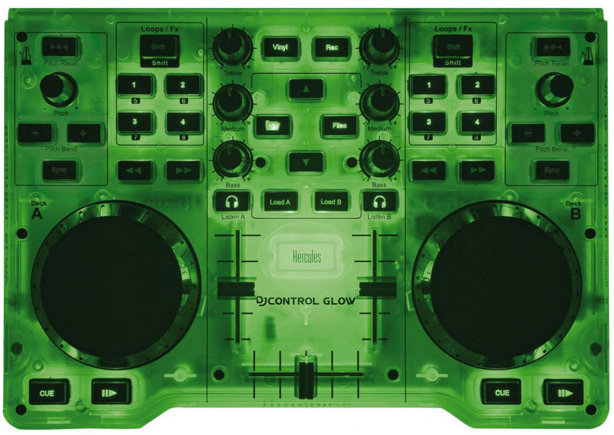 Hercules DJControl Glow, Green микшерный пульт4780839Hercules Hercules DJControl Glow представляет собой компактный DJ-контроллер с подсветкой корпуса. Данная модель прекрасно подойдет для начинающих диджеев, а также для тех, кто устраивает вечеринки в различных клубах, он чрезвычайно удобен, особенно когда постоянно приходится переезжать с места на место. Благодаря его небольшим габаритам и малому весу он легко помещается в обычную сумку и может путешествовать с вами где угодно. Одной из самых интересных деталей, которая сразу же бросается в глаза при первом знакомстве с Glow Green является его необычный корпус. В отключенном состоянии он прозрачного цвета, но как только его подключают к питанию, весь корпус наливается зеленым свечением. Выглядит это очень необычно и ярко. Устройство получает питание от USB порта любого компьютера или ноутбука, который также легко перевозится с собой. Органы управления DJ Control Glow позволяют микшировать два трека одновременно. Два сенсорных диска облегчают перемещение в...