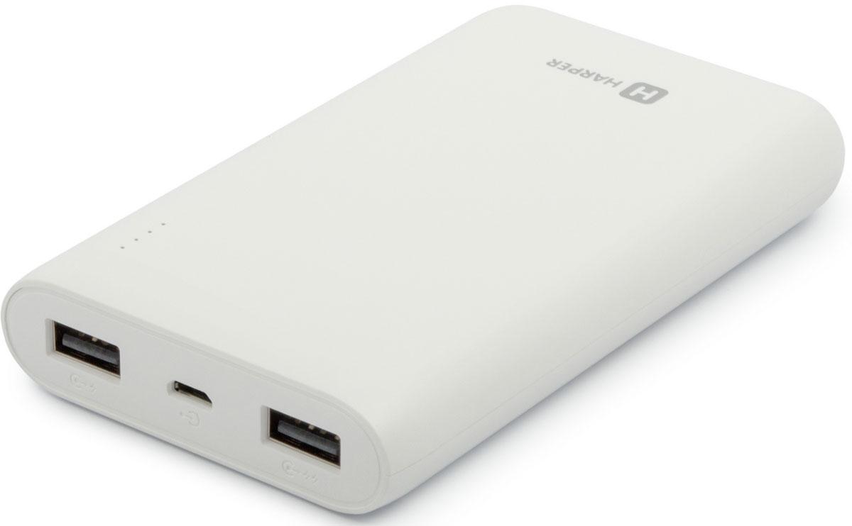 Harper PB-10010, White внешний аккумулятор (10000 мАч)H00001309Если вам нужен простой, практичный и емкий внешний аккумулятор – это Harper PB-10010. Его заряда в 10000 мАч хватит для нескольких полных перезарядок любого топового смартфона, не говоря уже о другой менее энергоемкой портативной технике (плееры, беспроводные наушники, фотоаппараты и другое). Устройство оснащено полноценной защитой от коротких замыканий (питание будет автоматически отключено), удобной индикацией уровня оставшегося заряда внутреннего аккумулятора (полоса из четырех светодиодных индикаторов, каждый из которых обозначает 25% от общего объема), а также имеет сразу два активных USB-порта (одновременно могут быть подключены два устройства). SMART-чип (умная микросхема) следит за каждым процессом заряда и делает его максимально эффективным. Несмотря на серьезную емкость, Harper PB-10010 имеет компактные габариты, небольшой вес и удобную форму корпуса, что позволяет без труда носить его в сумках, рюкзаках и даже карманах.