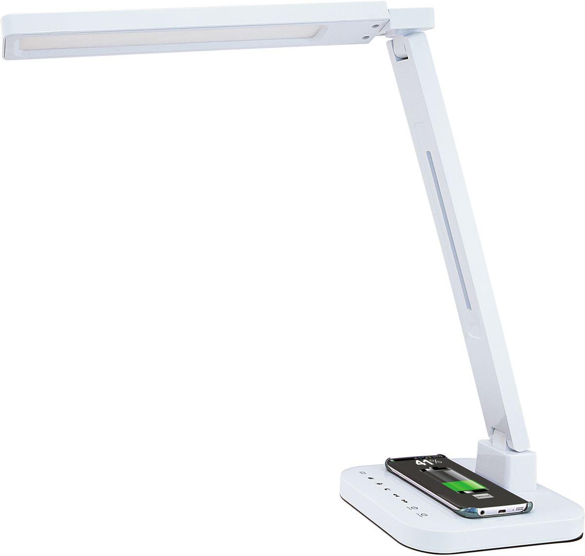 Лампа настольная Лючия Smart Qi, светодиодная, цвет: белый, 15W. L9004606400105459Настольный светильник. Предназначен для местного освещения внутри помещений. Напряжение сети 230 В, частота 50 Гц. Цветопередача Ra > 90. Источник света: SMD светодиоды, 48 шт. – Беспроводная зарядка Qi. – USB-разъем для подзарядки 5 В 2 А. – Cенсорное управление. – 4 режима. Цветовая температура света в диапазоне от 2700 до 6600 К. – Дискретное изменение яркости свечения (5 уровней). – Запоминание выбранного уровня яркости в каждом режиме. Кнопка: режим чтение Кнопка: режим учеба Кнопка: режим релаксация Кнопка: режим сон Кнопка: уменьшение яркости Кнопка: увеличение яркости Кнопка: таймер на 60 мин Кнопка: включение/ выключение Разъем для адаптера для сети 230 В
