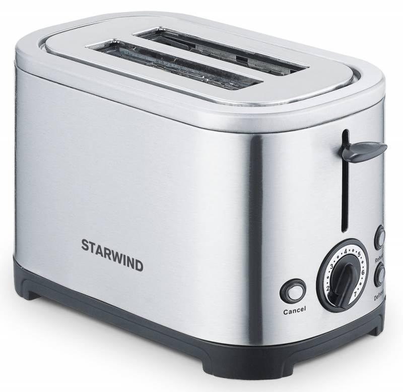 Starwind SET5573, Silver тостерSET5573Корпус тостера Starwind SET5573 выполнен из металла, что гарантирует его прочность и долговечность. Модель оснащена двумя отделениями для приготовления тостов. С помощью механического регулятора можно выбрать одну из семи возможных степеней обжарки для получения желаемой хрустящей корочки. Мощность 700 Вт позволяет прибору приготовить даже самый поджаристый ломтик все за пару минут. Тостер прост в обслуживании и не боится загрязнения внутренних элементов крошками, так как все они попадают в специальный съемный лоток. Он расположен в нижней части устройства, легко вынимается и моется.