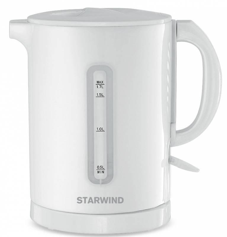 Starwind SKP1431, White чайник электрическийSKP1431Электрический чайник Starwind SKP1431 прост в управлении и долговечен в использовании. Изготовлен из высококачественных материалов. Прозрачное окошко позволяет определить уровень воды. Мощность 2200 Вт позволит вскипятить 1,7 литра воды в считанные минуты. Для обеспечения безопасности при повседневном использовании предусмотрена функция автовыключения.