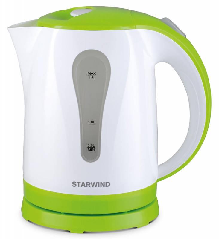 Starwind SKP2215, White Green чайник электрическийSKP2215Электрический чайник Starwind SKP2215 прост в управлении и долговечен в использовании. Изготовлен из высококачественных материалов. Прозрачное окошко позволяет определить уровень воды. Мощность 2200 Вт позволит вскипятить 1,8 литра воды в считанные минуты. Для обеспечения безопасности при повседневном использовании предусмотрены функция автовыключения, а также защита от включения при отсутствии воды.