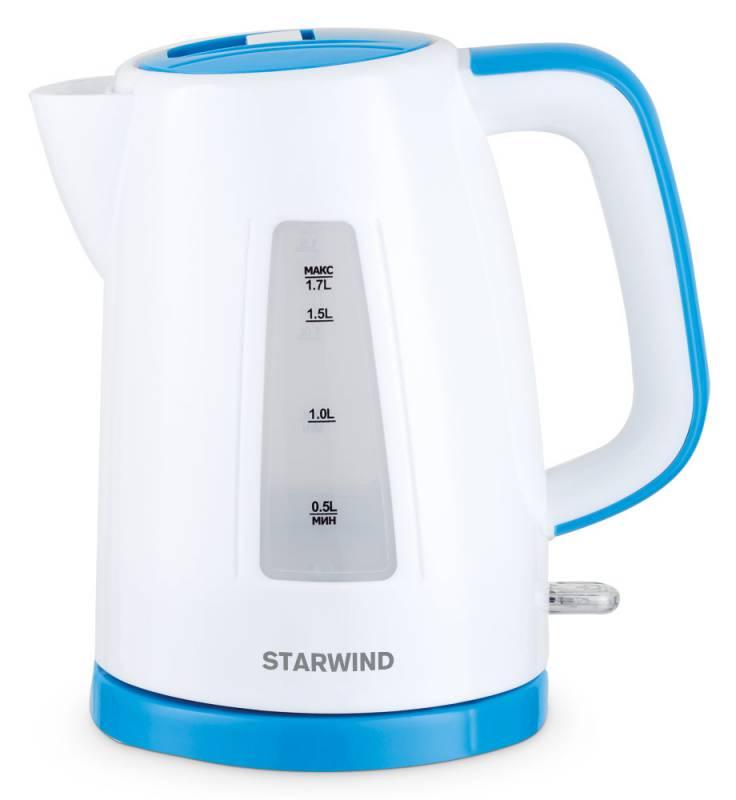 Starwind SKP3541, White Blue чайник электрическийSKP3541Электрический чайник Starwind SKP3541 прост в управлении и долговечен в использовании. Изготовлен из высококачественных материалов. Прозрачное окошко позволяет определить уровень воды. Мощность 2200 Вт позволит вскипятить 1,7 литра воды в считанные минуты. Для обеспечения безопасности при повседневном использовании предусмотрены функция автовыключения, а также защита от включения при отсутствии воды. Контроллер STRIX KEAI