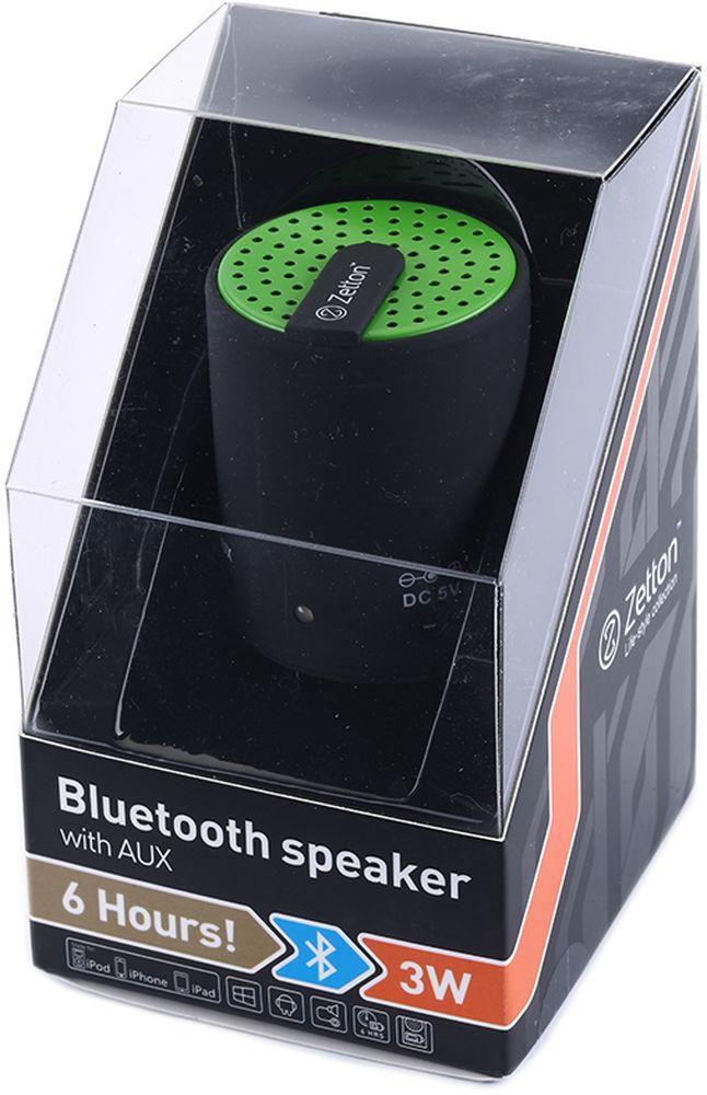Zetton Cylinder, Black Green портативная Bluetooth-колонка (ZTLSBSCYLBG)ZTLSBSCYLBGподдержка Bluetooth, FM радио, встроенный микрофон, возможность приёма звонков