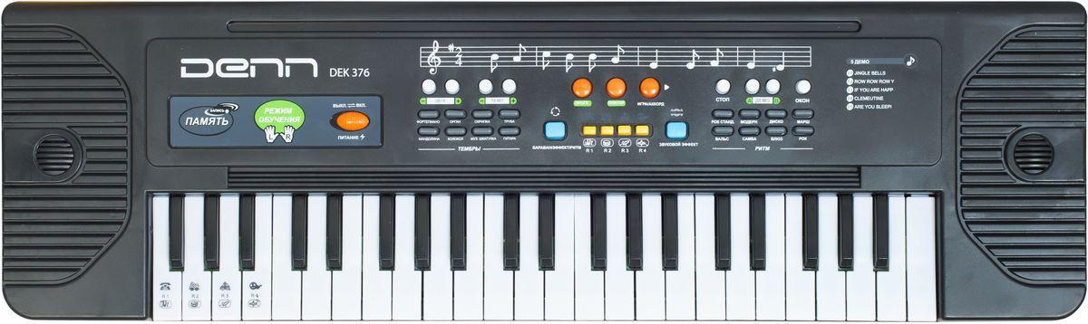 Denn DEK376 цифровой синтезаторDEK376Количество клавиш: 37 Русифицированная панель управления Размер клавиш: малоразмерные Количество тембров: 8 Количество ритмов: 8 Количество мелодий: 5 Функции: перкуссия, вибрато, сустейн, обучение, запись Питание: 4 х AA (LR6)