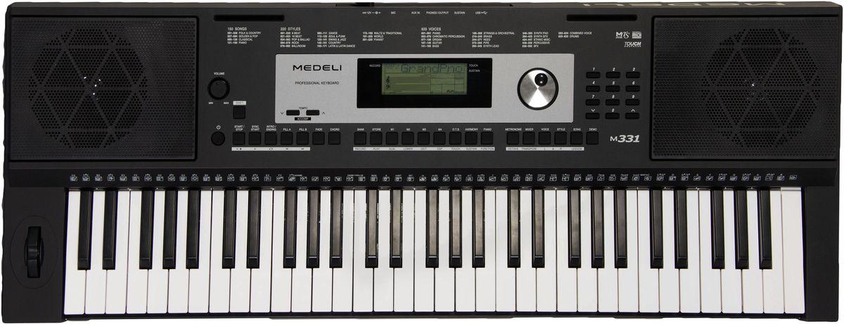 Medeli M331 цифровой синтезаторM331Синтезатор Medeli M331 относится к категории инструментов начального уровня и позволит молодым талантам поднять свой музыкальный уровень на качественно новую ступень. Несмотря на бюджетную цену, модель наделена качественным звучанием, которое воспроизводит 128-нотная полифония. Увеличена библиотека встроенных звуков. В ней собрано тембры 633 музыкальных инструментов и 220 стилей автоматического аккомпанемента. Выходное звучание может обрабатываться с помощью DSP-эффектов, в том числе эквалайзера с заданными предустановками. Доступны и более традиционные спецэффекты: хорус, реверберация, дилей; а также модные варианты – ротари и флэнджер. Вершиной технологического решения можно назвать программное обеспечение, предназначенное для создания пользовательских стилей. Подключив синтезатор к компьютеру с предварительно установленной программой, пианист сможет реализовать свои самые смелые музыкальные фантазии. Инструмент позволяет сохранить всего 10 композиций на...