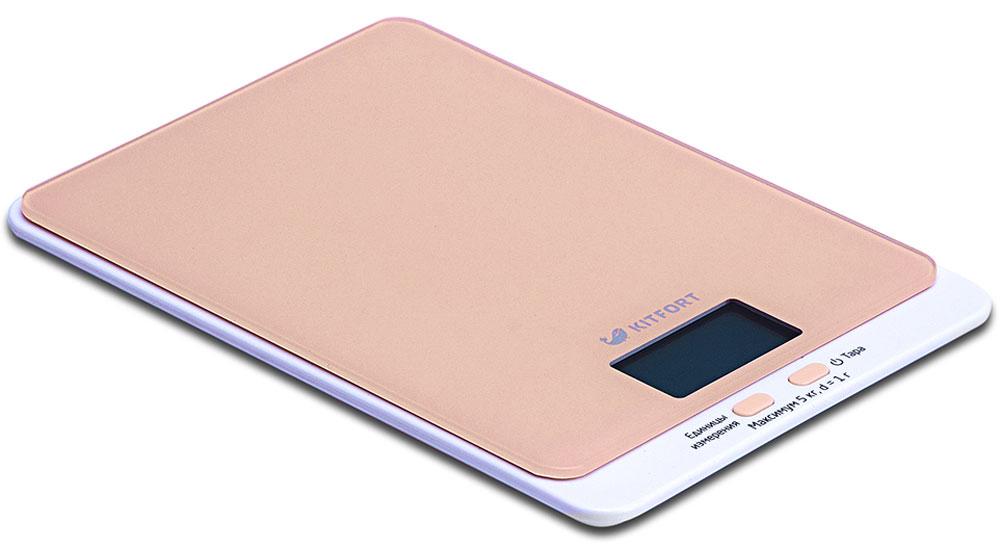 Kitfort КТ-803-3, Beige весы кухонныеКТ-803-3Электронные кухонные весы Kitfort КТ-803 позволяют определять вес до 5 кг с точностью до 1 грамма. Они оснащены жидкокристаллическим дисплеем с крупными цифрами, функциями автокалибровки, тарировки и выбора единиц измерения. Платформа выполнена из высокопрочного полированного стекла, а прорезиненные ножки обеспечивают весам дополнительную устойчивость и предотвращают их скольжение по поверхности. Для получения максимально точного результата устанавливайте весы на ровную горизонтальную поверхность. Датчики веса находятся в ножках весов, поэтому если они стоят на неровной или мягкой поверхности, то вес будет измеряться неправильно. Функция тарировки работает только при включенных весах. Левая кнопка используется для переключения единиц измерений. Включите весы, дождитесь окончания калибровки, затем последовательными нажатиями на кнопку выберите требуемые единицы измерения: g (граммы), oz (унции), lb: oz (фунты: унции), ml (миллилитры), fl.oz...
