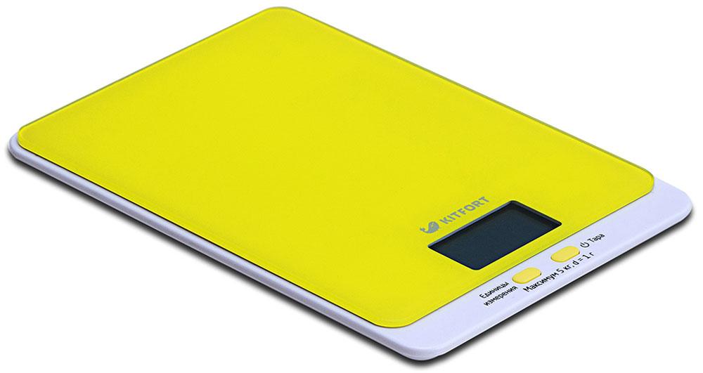 Kitfort КТ-803-4, Yellow весы кухонныеКТ-803-4Электронные кухонные весы Kitfort КТ-803 позволяют определять вес до 5 кг с точностью до 1 грамма. Они оснащены жидкокристаллическим дисплеем с крупными цифрами, функциями автокалибровки, тарировки и выбора единиц измерения. Платформа выполнена из высокопрочного полированного стекла, а прорезиненные ножки обеспечивают весам дополнительную устойчивость и предотвращают их скольжение по поверхности. Для получения максимально точного результата устанавливайте весы на ровную горизонтальную поверхность. Датчики веса находятся в ножках весов, поэтому если они стоят на неровной или мягкой поверхности, то вес будет измеряться неправильно. Функция тарировки работает только при включенных весах. Левая кнопка используется для переключения единиц измерений. Включите весы, дождитесь окончания калибровки, затем последовательными нажатиями на кнопку выберите требуемые единицы измерения: g (граммы), oz (унции), lb: oz (фунты: унции), ml (миллилитры), fl.oz...