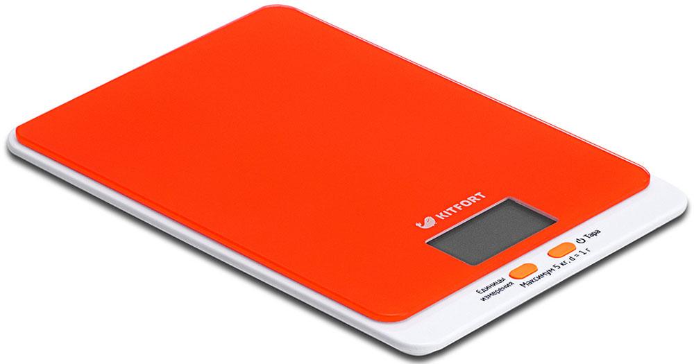 Kitfort КТ-803-5, весы кухонные цвет: оранжевыйКТ-803-5Электронные кухонные весы Kitfort КТ-803 позволяют определять вес до 5 кг с точностью до 1 грамма. Они оснащены жидкокристаллическим дисплеем с крупными цифрами, функциями автокалибровки, тарировки и выбора единиц измерения. Платформа выполнена из высокопрочного полированного стекла, а прорезиненные ножки обеспечивают весам дополнительную устойчивость и предотвращают их скольжение по поверхности. Для получения максимально точного результата устанавливайте весы на ровную горизонтальную поверхность. Датчики веса находятся в ножках весов, поэтому если они стоят на неровной или мягкой поверхности, то вес будет измеряться неправильно. Функция тарировки работает только при включенных весах. Левая кнопка используется для переключения единиц измерений. Включите весы, дождитесь окончания калибровки, затем последовательными нажатиями на кнопку выберите требуемые единицы измерения: g (граммы), oz (унции), lb: oz (фунты: унции), ml (миллилитры), fl.oz...
