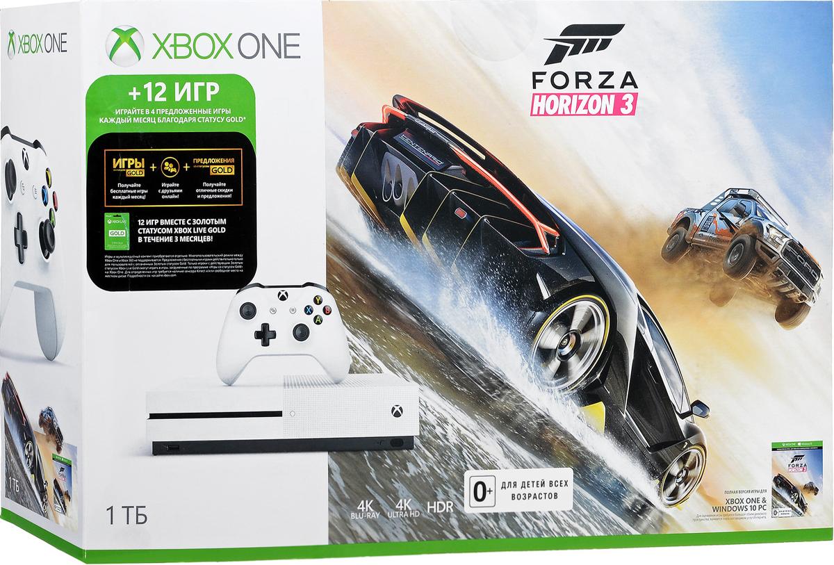 Игровая приставка Xbox One S 1 ТБ + Forza Horizon 3234-00115-1Игровая приставка Xbox One S - единственная консоль с 4K-плеером Blu-Ray, потоковым видео с разрешением 4K и функцией расширенного динамического диапазона (HDR). Играйте в лучшую линейку игр, включая классические игры с Xbox 360, на консоли, которая компактнее на 40%. Не обманывайтесь ее размером, благодаря встроенному блоку питания и жесткому диску емкостью до 1 ТБ консоль Xbox One S - самая продвинутая из всех Xbox на сегодняшний день! Наслаждайтесь более насыщенными и яркими цветами в таких играх, как Gears of War 4 и Forza Horizon 3. Технология расширенного динамического диапазона повышает контраст между светлыми и темными участками изображения, представляя игры во всем их великолепии! Разрешение 4K Ultra HD в четыре раза превышает стандартное разрешение HD, обеспечивая максимально четкое и реалистичное отображение. Смотрите потоковое видео в формате 4k из Netflix и Amazon Video, а также фильмы на дисках Ultra HD Blu-ray, с восхитительным...