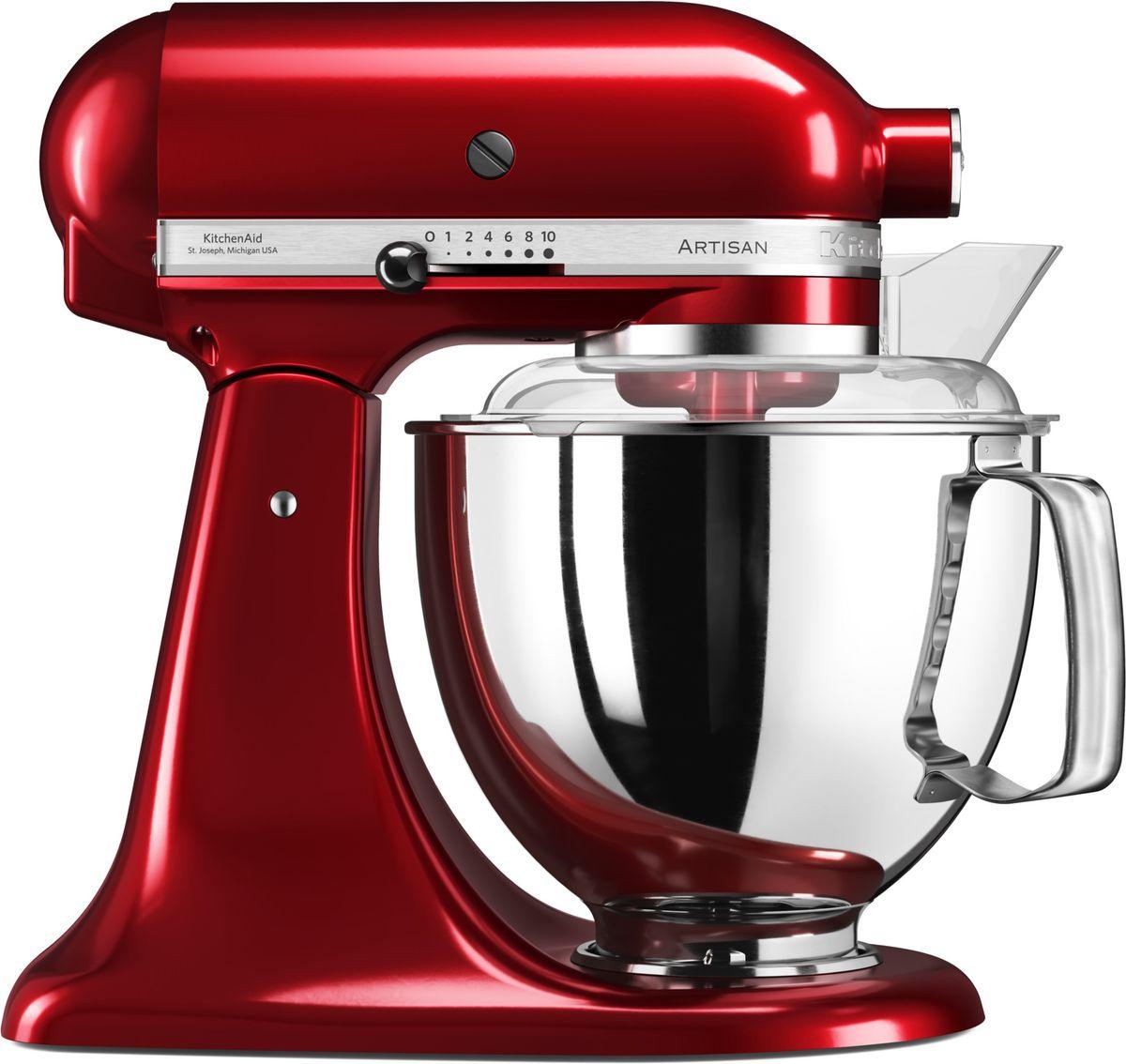 KitchenAid Artisan, Red миксер планетарный (5KSM175PSECA)5KSM175PSECAМиксер KitchenAid Artisan - это уникальное многофункциональное устройство, практически не имеющее аналогов на рынке техники для дома и кухни. Сочетание классического элегантного дизайна и высокой мощности, соответствующей стандартам профессионального оборудования, делает этот миксер фаворитом не только на домашней кухне, но и на рабочем столе мастеров поварского искусства. Откидывающаяся головка миксера KitchenAid Artisan позволяет легко менять насадки и устанавливать чашу. Миксер имеет 10 скоростных режимов, от медленного смешивания до высокоскоростного взбивания. Базовая комплектация миксера включает: чашу объемом 4,83 литра, крюк для теста, венчик для взбивания, насадку- лопатку для перемешивания, крышку для чаши и защитный обод с воронкой для засыпания продуктов. Этого набора достаточно, чтобы миксер успешно выполнял базовые функции. В передней части привода миксера KitchenAid имеется еще одно гнездо для подсоединения дополнительных насадок....