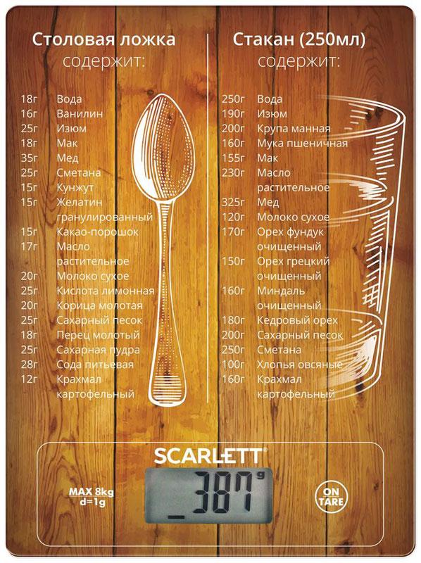 Scarlett SC-KS57P19, Weights & Measures весы кухонныеSC-KS57P19Весы Scarlett SC-KS57P19 Weights & Measures - это отличный помощник на вашей кухне. Функция сброса веса тары позволит взвешивать не учитывая массу тары, а высокая точность даст возможность точно следовать вашим любимым рецептам. Данная модель позволяет измерить не только вес, но и объем. Прибор также имеет индикатор перегрузки и заряда батареи.