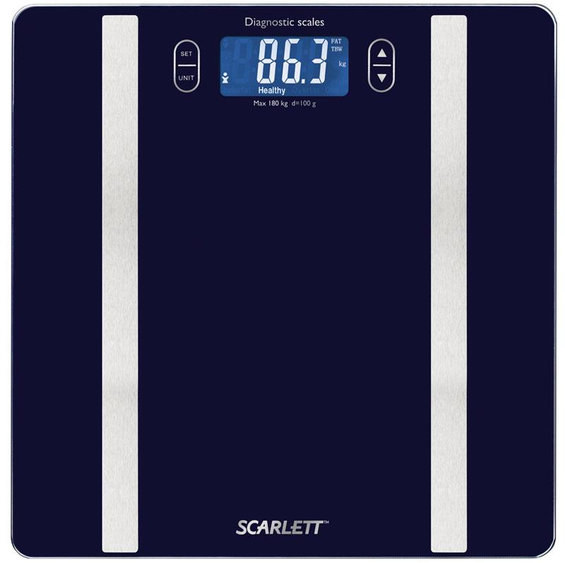 Scarlett SC-BS33ED82, Blue весы напольныеSC-BS33ED82Напольные весы Scarlett SC-BS33ED82 имеют уникальный дизайн стеклянной платформы. Это простой и удобный способ контролировать свой вес. Максимальная нагрузка на данную модель может составлять 180 кг. При перегрузе загорится предупреждающий сигнал. Также специальная индикация сообщит пользователям о необходимости замены элемента питания. Чтобы весы начали работать, достаточно просто встать на них. После взвешивания прибор отключится самостоятельно. Высокочувствительные датчики Индикатор перегрузки Индикатор батарейки Цифровой жидкокристаллический дисплей Прорезиненные ножки