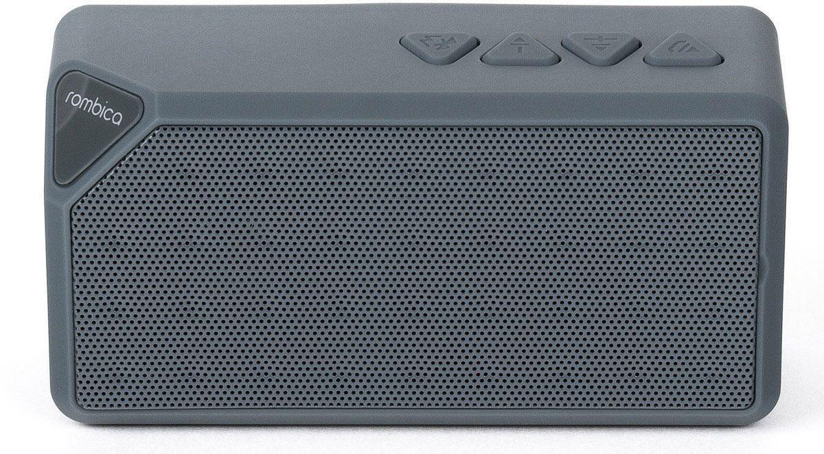 Rombica MySound BT-01 1C, Gray портативная акустическая системаSBT-00011Встроенный сабвуфер, улучшенное воспроизведение низких частот Воспроизведение аудио с microSD карт и через аудиовход Совместима со всеми популярными устройствами с поддержкой Bluetooth Прием звонков с телефона — громкая связь Прием FM радио без наушников Сменный аккумулятор Bluetooth стандарт: v2.1 + EDR FM / Радиоприемник Диапазон воспроизводимых частот: 280 Гц - 16 кГц Мощность динамиков: 3 Вт MP3 плеер Аккумулятор: 600 мАч / 3.7 В Интерфейсы: Micro-USB, слот microSD, аудиовход, Bluetooth