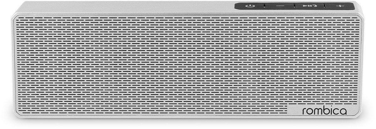Rombica MySound BT-11 1C, Silver портативная акустическая системаSBT-0011GПортативная акустическая система Rombica MySound BT-11 1C совместима со всеми популярными устройствами с поддержкой Bluetooth. Встроенный сабвуфер обеспечивает улучшенное воспроизведение низких частот. Прием звонков с телефона: громкая связь Bluetooth стандарт: v2.1 + EDR Аккумулятор: 1200 мАч / 3.7 В Наличие сабвуфера Покрытие корпуса, имитирующее брашированный метал