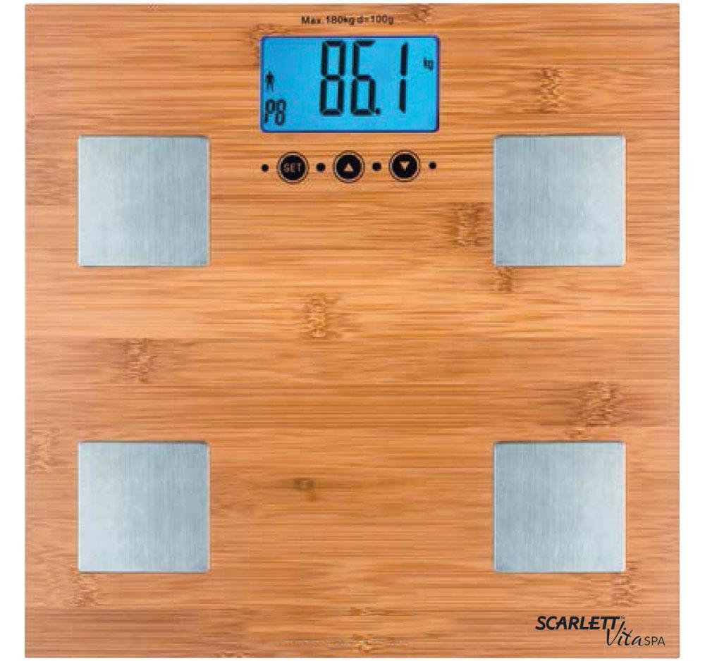 Scarlett SC-BS33ED79, Bamboo весы напольныеSC-BS33ED79Напольные весы Scarlett SC-BS33ED79 имеют уникальный дизайн деревянной платформы. Это простой и удобный способ контролировать свой вес. Максимальная нагрузка на данную модель может составлять 180 кг. При перегрузе загорится предупреждающий сигнал. Также специальная индикация сообщит пользователям о необходимости замены элемента питания. Чтобы весы начали работать, достаточно просто встать на них. После взвешивания прибор отключится самостоятельно. Высокочувствительные датчики Индикатор перегрузки Индикатор батарейки Цифровой жидкокристаллический дисплей Прорезиненные ножки
