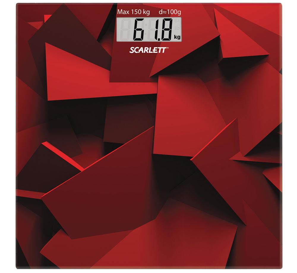 Scarlett SC-BS33E086, Red весы напольныеSC-BS33E086Напольные весы Scarlett SC-BS33E086 имеют уникальный дизайн платформы. Это простой и удобный способ контролировать свой вес. Максимальная нагрузка на данную модель может составлять 150 кг. При перегрузе загорится предупреждающий сигнал. Также специальная индикация сообщит пользователям о необходимости замены элемента питания. Чтобы весы начали работать, достаточно просто встать на них. После взвешивания прибор отключится самостоятельно. Высокочувствительные датчики Индикатор перегрузки Индикатор батарейки Цифровой жидкокристаллический дисплей Прорезиненные ножки