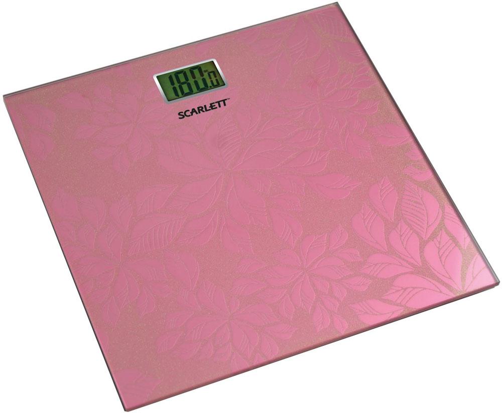 Scarlett SC-217, Pink весы напольныеSC-217_PНапольные весы Scarlett SC-217 имеют уникальный дизайн платформы. Это простой и удобный способ контролировать свой вес. Максимальная нагрузка на данную модель может составлять 180 кг. При перегрузе загорится предупреждающий сигнал. Также специальная индикация сообщит пользователям о необходимости замены элемента питания. Чтобы весы начали работать, достаточно просто встать на них. После взвешивания прибор отключится самостоятельно. Высокочувствительные датчики Индикатор перегрузки Индикатор батарейки Цифровой жидкокристаллический дисплей Прорезиненные ножки
