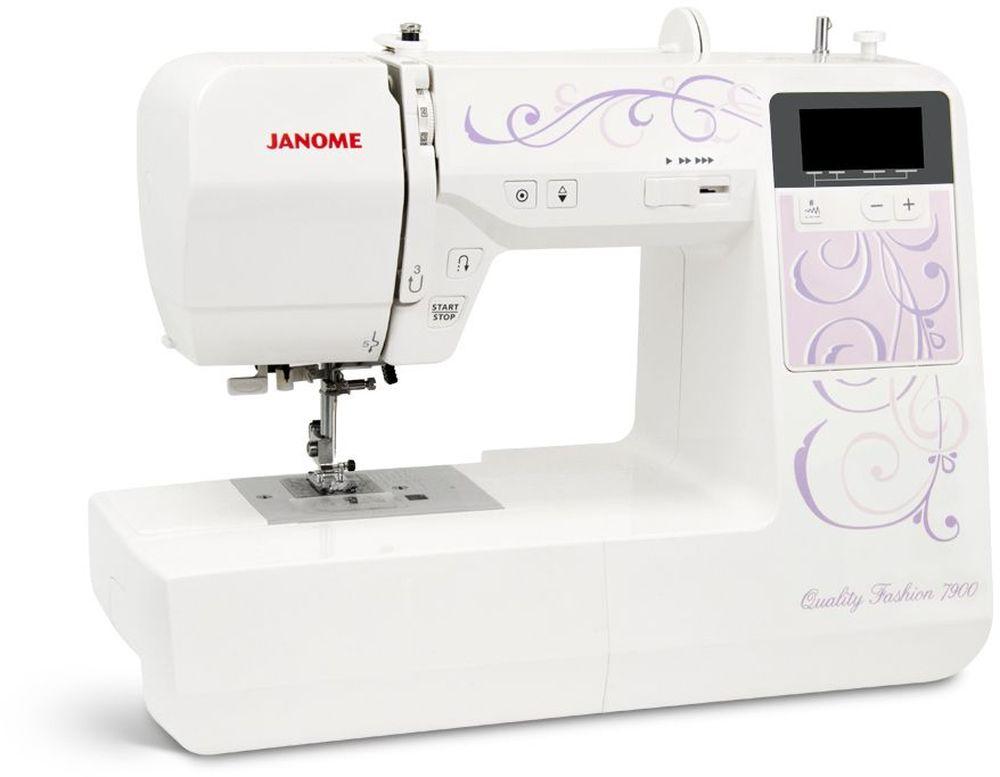 Janome QF 7900 швейная машинаQF 7900Швейная машина Janome QF 7900 выполняет 100 швейных операций, в их числе петля в режиме - автомат, в количестве семи штук. Для вашего удобства в машинке встроен автоматический нитевдеватель, яркая LED подсветка и ЖК дисплей. Горизонтальное челночное устройство облегчит заправку нити. Janome QF 7900 может шить без педали, на корпусе машинки есть кнопка точечной закрепки, регулировка скорости шитья (данная функция, несомненно облегчит работу новичкам в швейном деле). Высокоэффективный двигатель с системой усилия прокола ткани, позволит с легкостью пробивать ткани высокой плотности и толщины.
