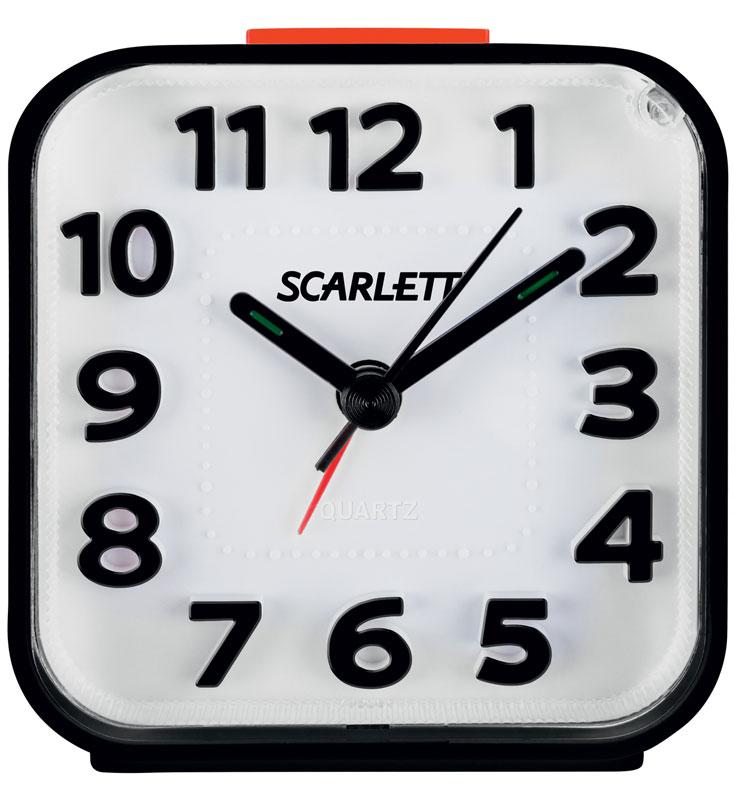 Scarlett SC-AC1013B, Black будильник электронныйSC-AC1013BБудильник Scarlett SC-AC1013B имеет надежный кварцевый часовой механизм и плавный бесшумный ход. Данная модель также оснащена встроенной функцией подсветки и повтора сигнала (Snooze). Питание осуществляется от одной батарейки типа АА (в комплект не входит).